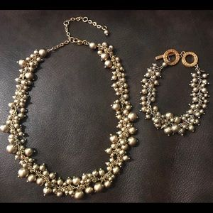 Gold bead necklace and bracelet set